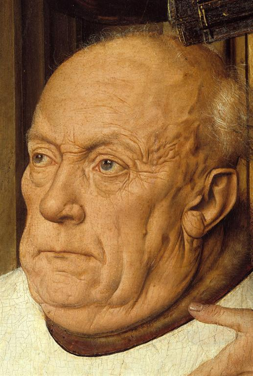 Detail showing the aging and grizzled face of Canon van der Paele