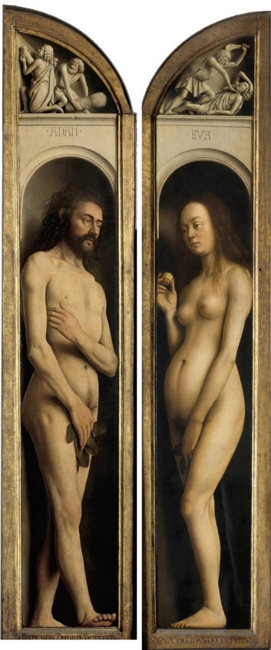 The Ghent altarpiece. Adam and eve (detail) by Jan van Eyck ...
