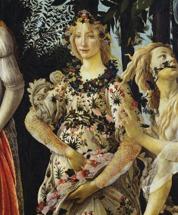 Botticelli, Primavera, 1480c, Flora, part.